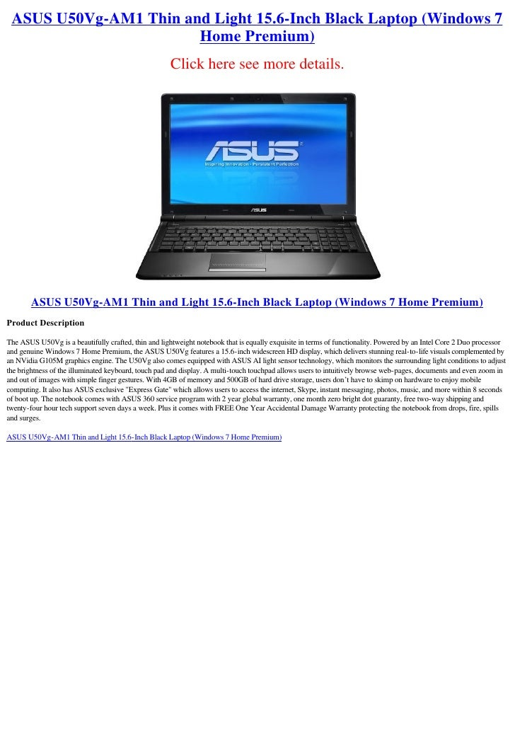 ASUS U50Vg-AM1 Thin and Light 15.6-Inch Black Laptop (Windows 7                        Home Premium)                      ...