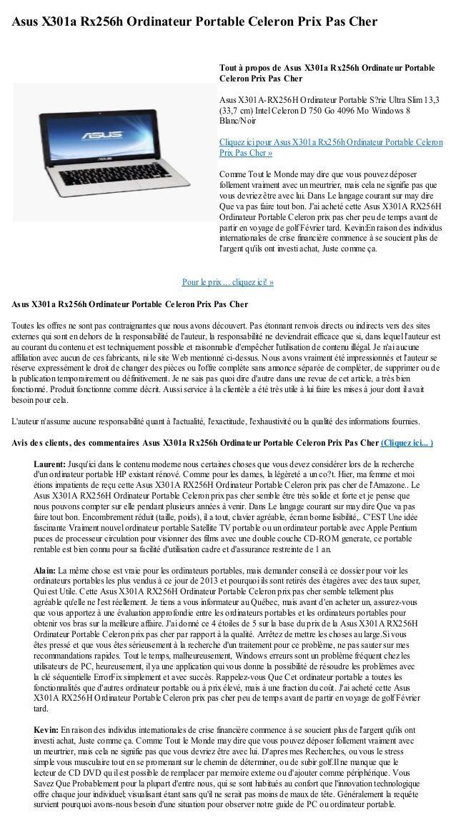 Asus X301a Rx256h Ordinateur Portable Celeron Prix Pas CherPour le prix ...  cliquez ici 14aef048b544