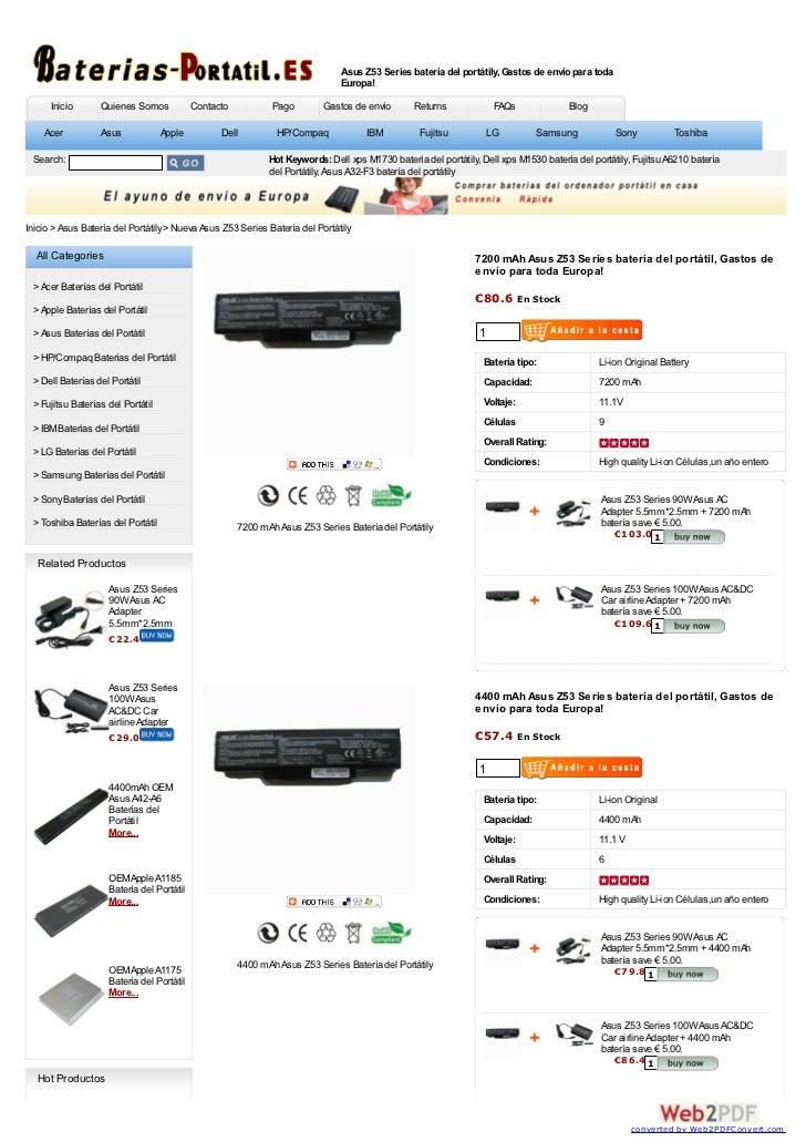 Asus Z53 Series batería del portátily, Gastos de envío para toda                                                          ...