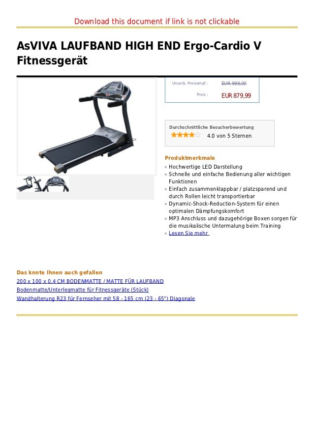 Download this document if link is not clickableAsVIVA LAUFBAND HIGH END Ergo-Cardio VFitnessgerät                         ...
