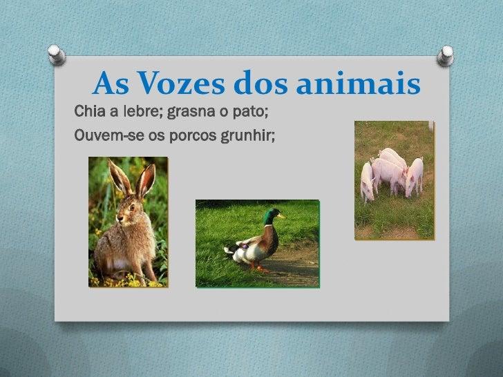 As Vozes dos animaisChia a lebre; grasna o pato;Ouvem-se os porcos grunhir;
