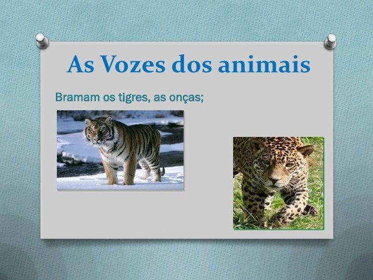 As Vozes dos animaisBramam os tigres, as onças;