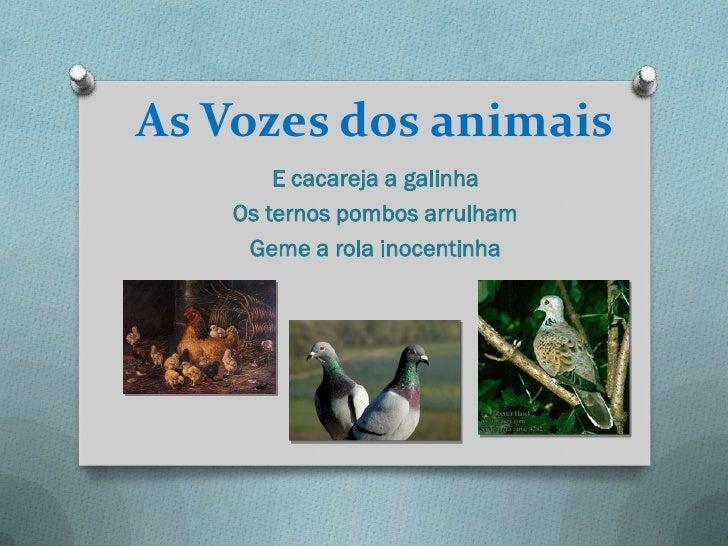 As Vozes dos animais        E cacareja a galinha    Os ternos pombos arrulham     Geme a rola inocentinha