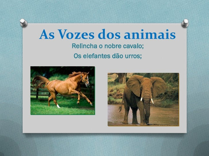 As Vozes dos animais    Relincha o nobre cavalo;    Os elefantes dão urros;
