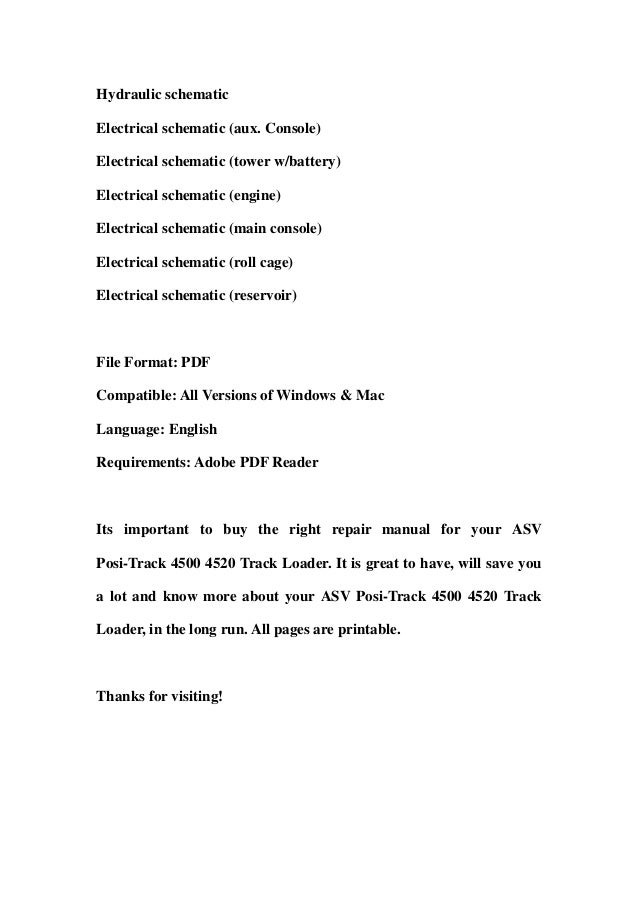 asv posi track 4500 4520 track loader parts manual assembly 3 hydraulic schematicelectrical schematic