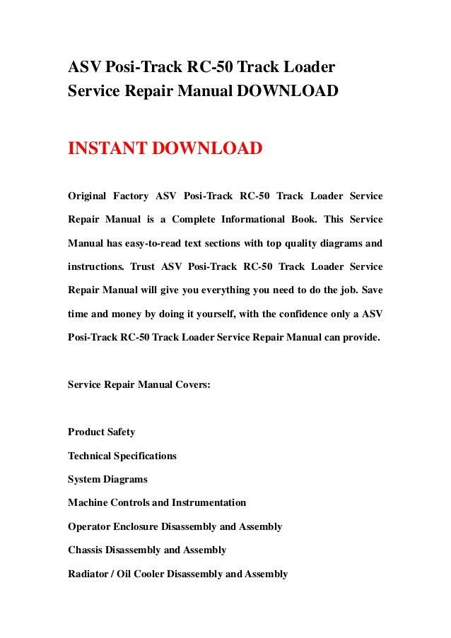 asv posi track rc track loader service repair manual asv posi track rc 50 track loaderservice repair manual instant original factory asv posi