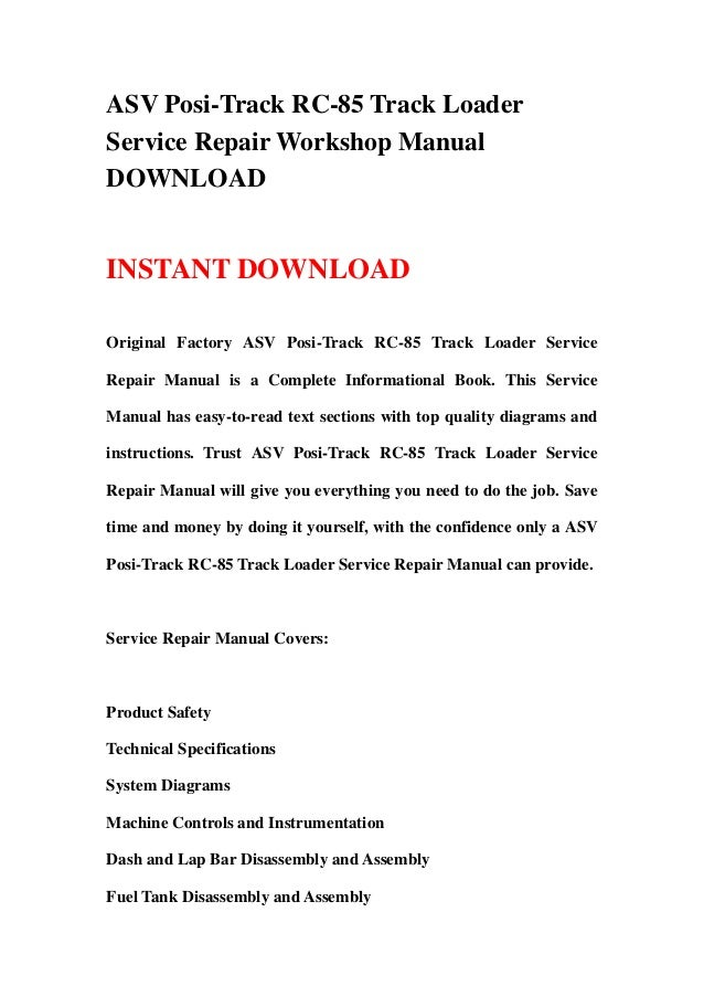 asv posi track rc 85 track loader service repair workshop manual Lincoln Wiring Diagram