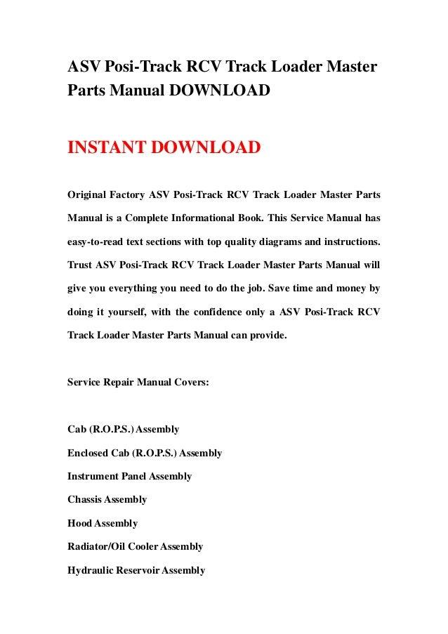 ASV Posi-Track RCV Track Loader MasterParts Manual DOWNLOADINSTANT DOWNLOADOriginal Factory ASV Posi-Track RCV Track Loade...