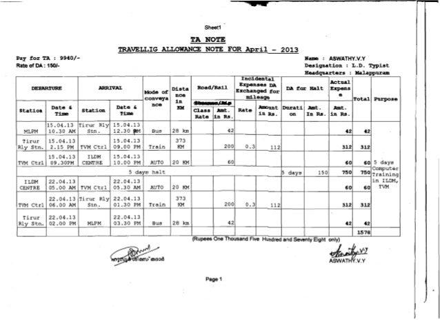 travelling allowance format