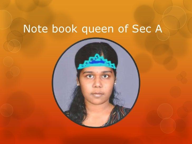 Note book queen of Sec A<br />