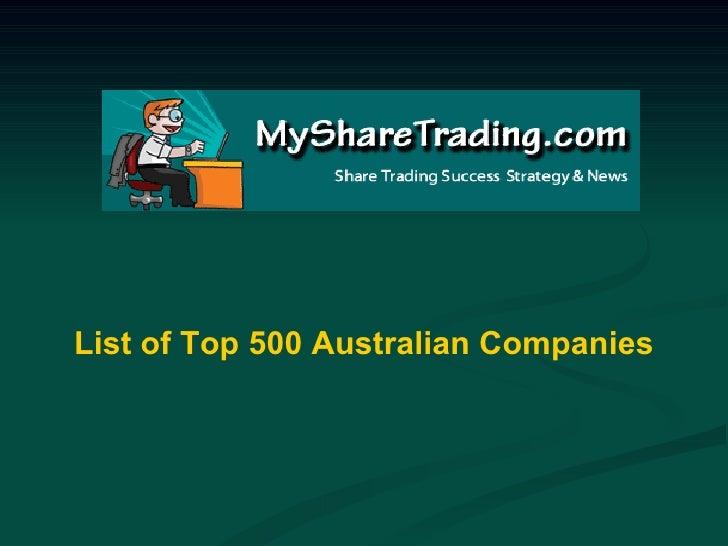 List of Top 500 Australian Companies