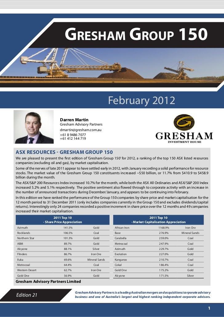 FEBRUARY 2012                               Gresham Group 150                                                             ...