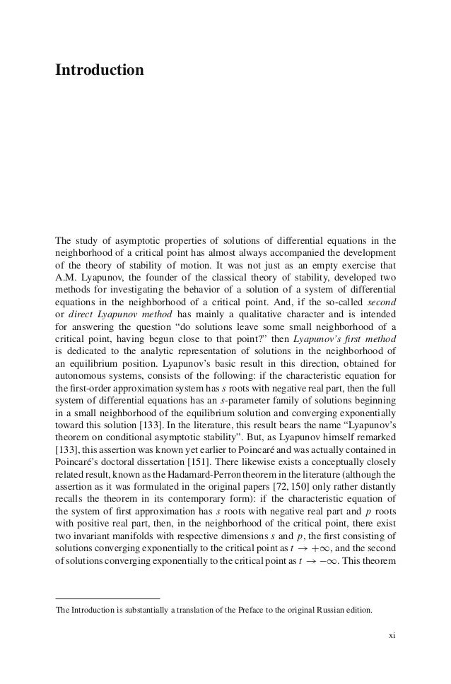 IntroductionThe study of asymptotic properties of solutions of differential equations in theneighborhood of a critical poi...