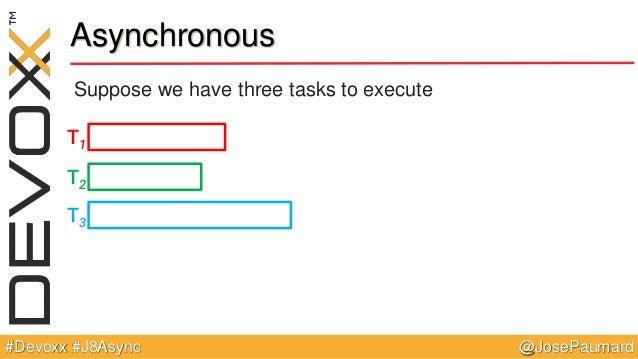 @JosePaumard#Devoxx #J8Async Asynchronous Suppose we have three tasks to execute T1 T2 T3