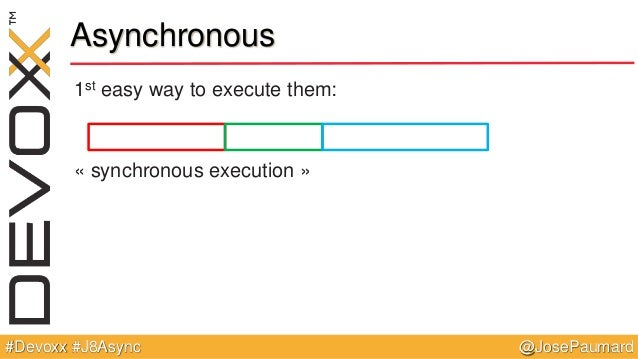 @JosePaumard#Devoxx #J8Async Asynchronous 1st easy way to execute them: « synchronous execution »