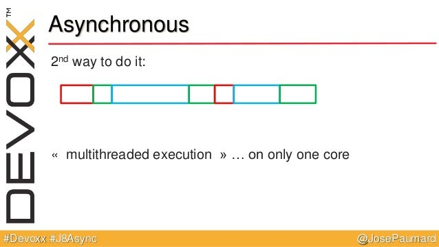 @JosePaumard#Devoxx #J8Async Asynchronous 2nd way to do it: « multithreaded execution » … on only one core