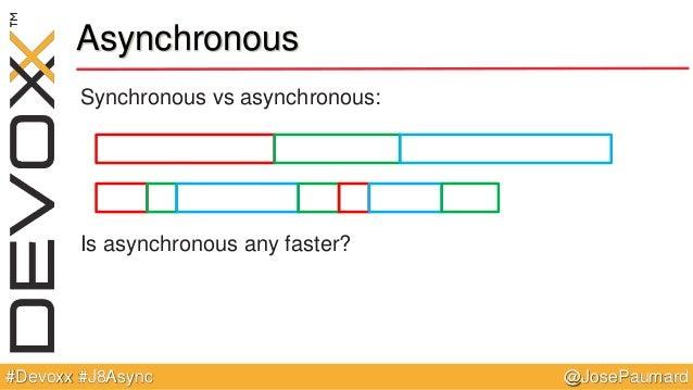 @JosePaumard#Devoxx #J8Async Asynchronous Synchronous vs asynchronous: Is asynchronous any faster?