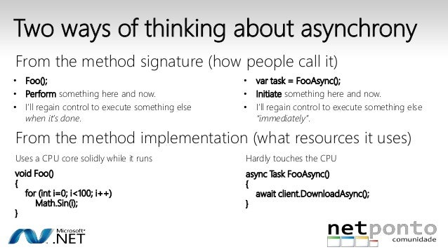Two ways of thinking about asynchrony  From the method signature (how people call it)  • Foo();  • Perform something here ...