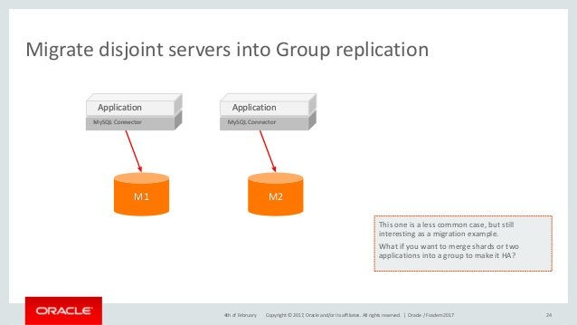 Copyright © 2017, Oracle and/or its affiliates. All rights reserved. | Migrate disjoint servers into Group replication 244...