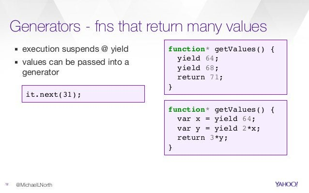 Generators - fns that return many values 12 @MichaelLNorth function* getValues() { yield 64; yield 68; return 71; } ▪ exec...