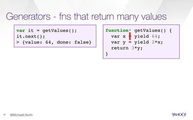 Generators - fns that return many values 15 @MichaelLNorth function* getValues() { var x = yield 64; var y = yield 2*x; re...