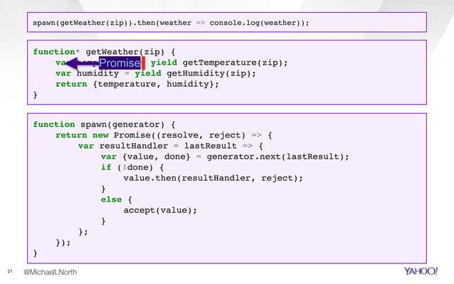 @MichaelLNorth21 function spawn(generator) { return new Promise((resolve, reject) => { var resultHandler = lastResult => {...