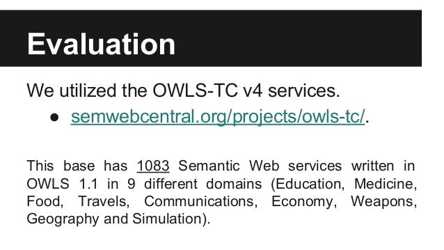 Matchmaking algorithm semantic web services