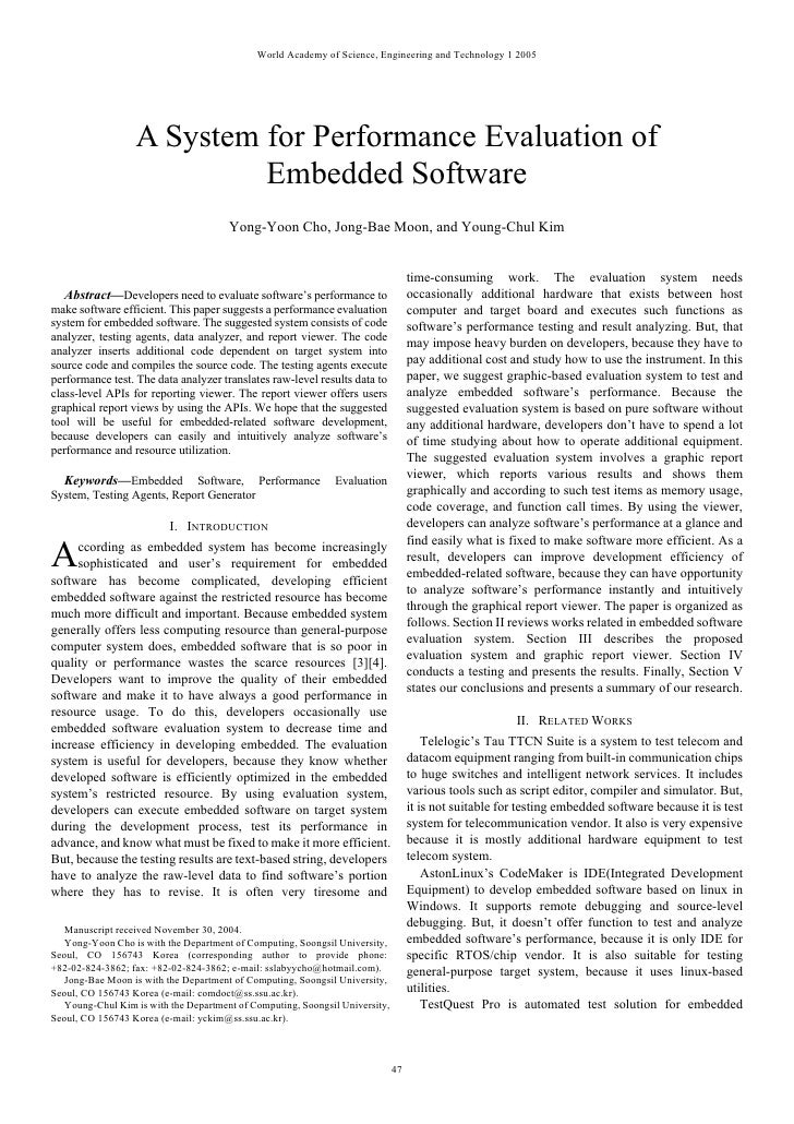 World Academy of Science, Engineering and Technology 1 2005                  A System for Performance Evaluation of       ...