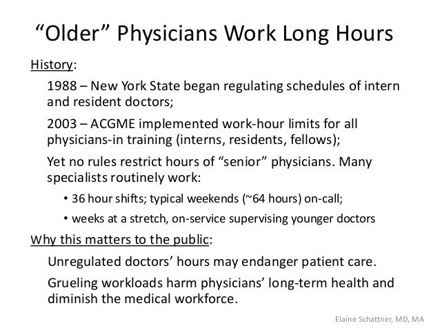 """""""Older"""" Physicians Work Long Hours History: 1988 – New York State began regulating schedules of intern and resident doctor..."""