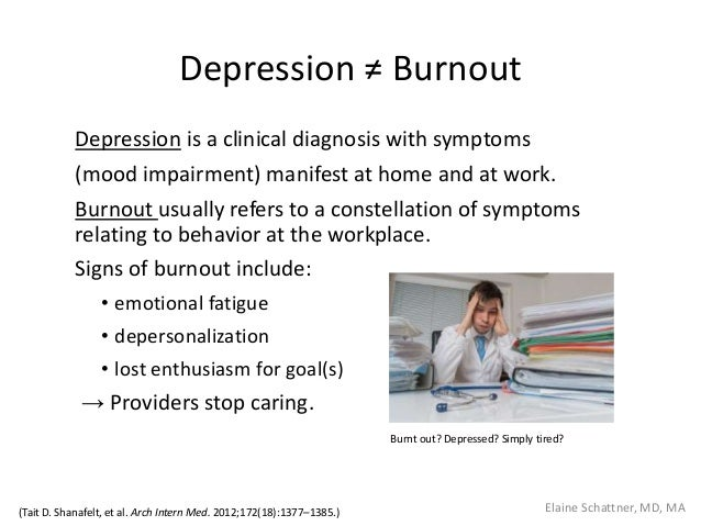 Depression ≠ Burnout Depression is a clinical diagnosis with symptoms (mood impairment) manifest at home and at work. Burn...