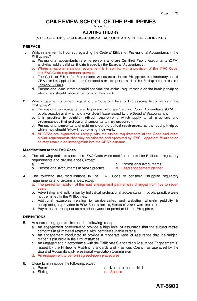 Page 1 of 20AT-5903CPA REVIEW SCHOOL OF THE PHILIPPINESM a n i l aAUDITING THEORYCODE OF ETHICS FOR PROFESSIONAL ACCOUNTAN...