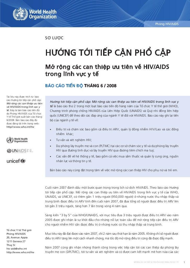 phòng HiV/AiDS                                       Sơ lược                                      Hướng tới tiếp cận pHổ c...