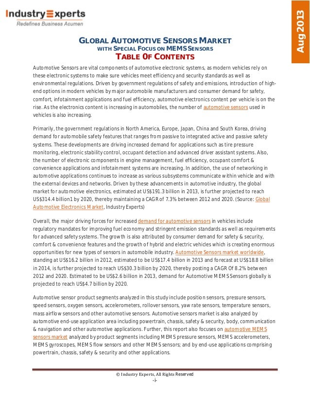 GLOBAL AUTOMOTIVE SENSORS MARKET WITH SPECIAL FOCUS ON MEMS SENSORS TABLE 0F CONTENTS © Industry Experts, All Rights Reser...