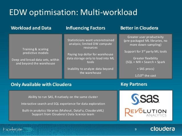 EDW optimisation: Multi-workload  9  Training & scoringpredictive models  Deep and broad data sets, within and beyond the ...