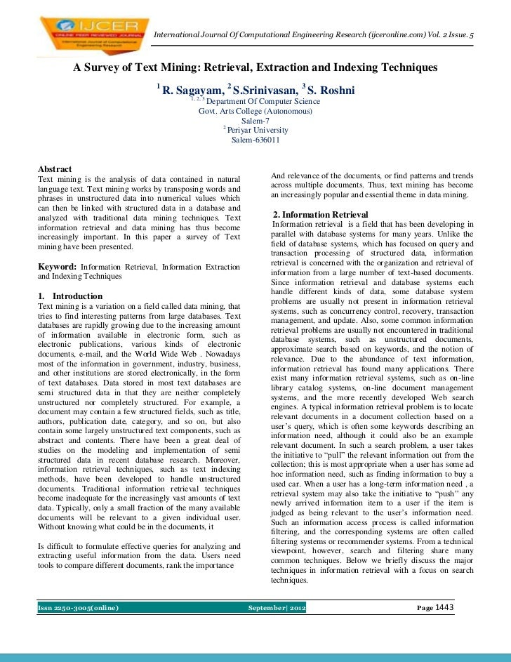 International Journal Of Computational Engineering Research (ijceronline.com) Vol. 2 Issue. 5           A Survey of Text M...