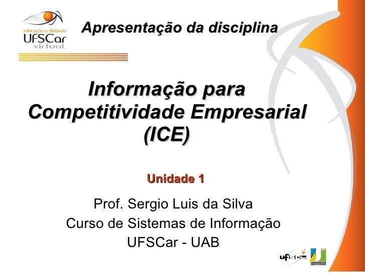 Informação para Competitividade Empresarial (ICE) Prof. Sergio Luis da Silva Curso de Sistemas de Informação UFSCar - UAB ...