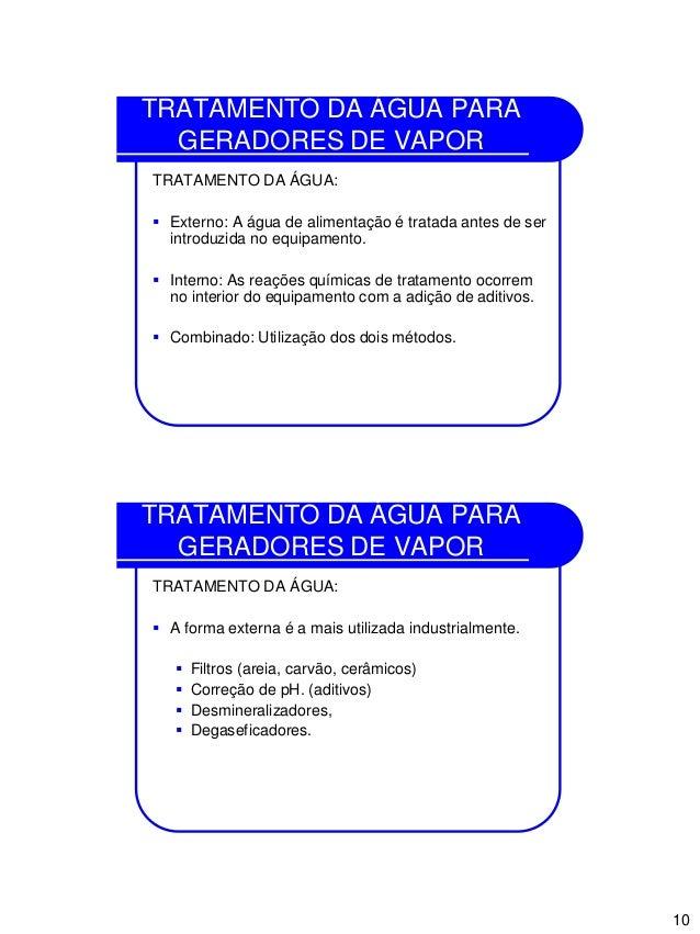 10 TRATAMENTO DA ÁGUA PARA GERADORES DE VAPOR TRATAMENTO DA ÁGUA:  Externo: A água de alimentação é tratada antes de ser ...