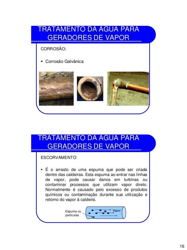 16 TRATAMENTO DA ÁGUA PARA GERADORES DE VAPOR CORROSÃO:  Corrosão Galvânica TRATAMENTO DA ÁGUA PARA GERADORES DE VAPOR ES...