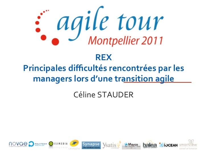 REX Principales difficultés rencontrées par les   managers lors d'une transition agile                ...
