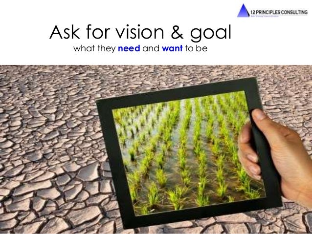 Ask for vision & goal  what they need and want to be