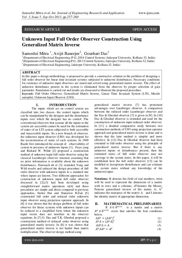 Samoshri Mitra et al. Int. Journal of Engineering Research and Application www.ijera.com Vol. 3, Issue 5, Sep-Oct 2013, pp...