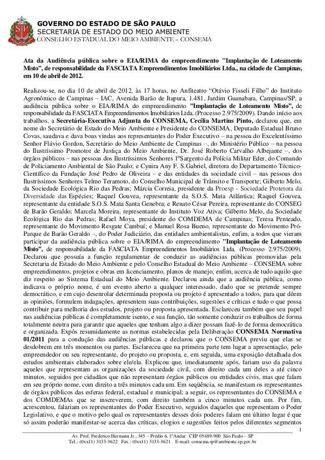 GOVERNO DO ESTADO DE SÃO PAULO SECRETARIA DE ESTADO DO MEIO AMBIENTE CONSELHO ESTADUAL DO MEIO AMBIENTE – CONSEMA Av. Prof...