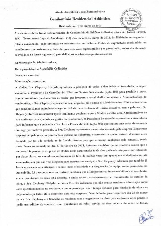 Ata da Assembléia Geral Extraordinária «i-«oV-¡5°¡V¡çá, ;wç  e »a r n o n A o  R' T.    Condominio Residencial Atlantico ?...