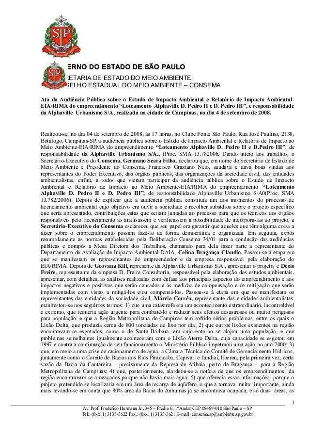 GOVERNO DO ESTADO DE SÃO PAULO SECRETARIA DE ESTADO DO MEIO AMBIENTE CONSELHO ESTADUAL DO MEIO AMBIENTE – CONSEMA Ata da A...