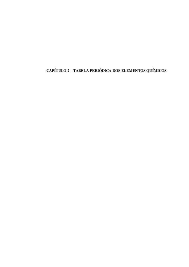 CAPÍTULO 2 – TABELA PERIÓDICA DOS ELEMENTOS QUÍMICOS