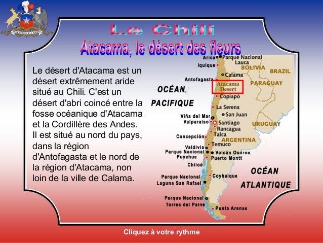 Cliquez à votre rythme Le désert d'Atacama est un désert extrêmement aride situé au Chili. C'est un désert d'abri coincé e...