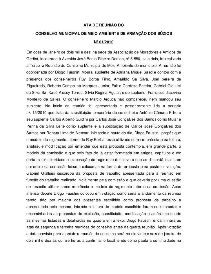 ATA DE REUNIÃO DO     CONSELHO MUNICIPAL DE MEIO AMBIENTE DE ARMAÇÃO DOS BÚZIOS                                       Nº 0...