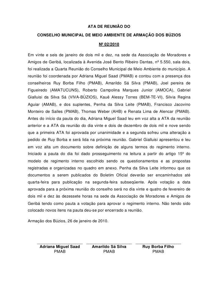 ATA DE REUNIÃO DO    CONSELHO MUNICIPAL DE MEIO AMBIENTE DE ARMAÇÃO DOS BÚZIOS                                     Nº 02/2...