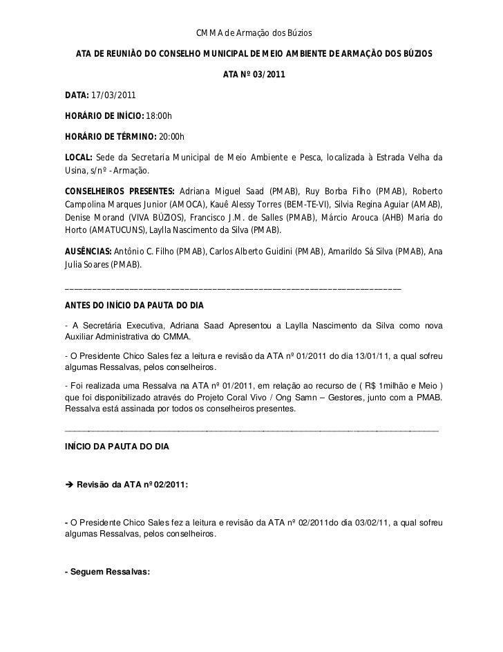 CMMA de Armação dos Búzios  ATA DE REUNIÃO DO CONSELHO MUNICIPAL DE MEIO AMBIENTE DE ARMAÇÃO DOS BÚZIOS                   ...
