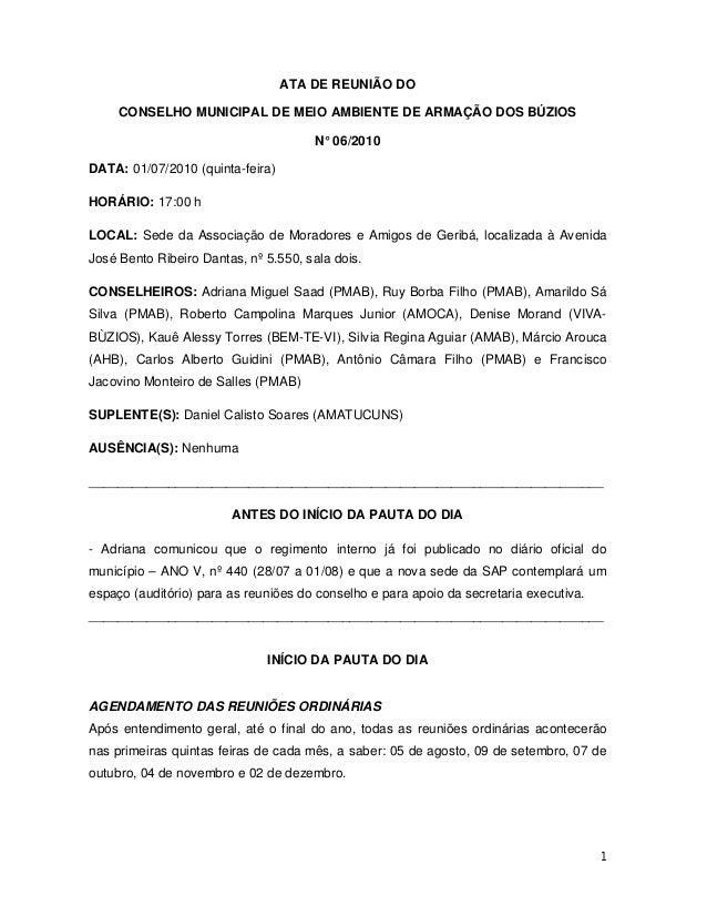 1 ATA DE REUNIÃO DO CONSELHO MUNICIPAL DE MEIO AMBIENTE DE ARMAÇÃO DOS BÚZIOS N° 06/2010 DATA: 01/07/2010 (quinta-feira) H...